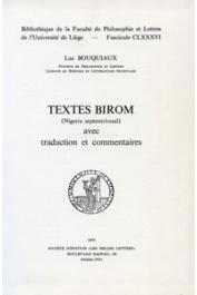 BOUQUIAUX Luc, (éditeur) - Textes Birom, Nigeria septentrional, avec traduction et commentaires