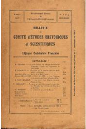Bulletin du comité d'études historiques et scientifiques de l'AOF - Tome 01 - n°3-4 - Juillet-Décembre 1918
