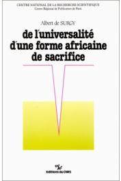SURGY Albert de - De l'universalité d'une forme africaine de sacrifice