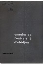 Annales de l'Université d'Abidjan Série F, Tome 2, fasc. 2