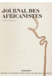 Journal des Africanistes - Tome 49 - fasc. 1 - 1979