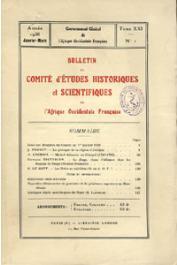 Bulletin du comité d'études historiques et scientifiques de l'AOF - Tome 21 - n°1 - Janvier-Mars 1938 (BCEHSAOF)