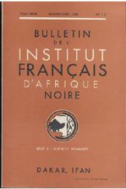Bulletin de l'IFAN - Série B - Tome 27 - n°1-2 - Janvier-Avril 1965
