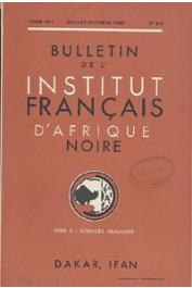 Bulletin de l'IFAN - Série B - Tome 22 - n° 3-4 - Juillet-Octobre 1960