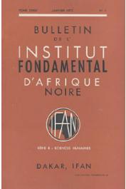 Bulletin de l'IFAN - Série B - Tome 34 - n°1 - Janvier 1972