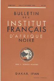 Bulletin de l'IFAN - Série B - Tome 24 - n°3-4 - Juillet-Octobre 1962