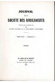 Journal de la Société des Africanistes - Tome 35 - fasc. 2 - 1965