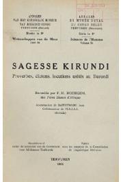 RODEGEM F. M. - Sagesse kirundi. Proverbes, dictons, locutions usités au Burundi