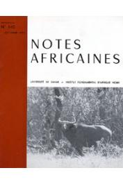 Notes Africaines - 140 L'évolution de la dot au Sénégal: de la tradition à la modernité / Jan Kompany, notable de la baie de Hann, etc..