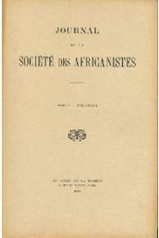 Journal de la Société des Africanistes - Tome 05 - fasc. 1