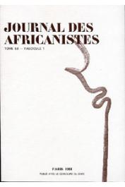 Journal des Africanistes - Tome 58 - fasc. 1