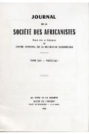 Journal de la société des Africanistes - Tome 44 - fasc. 1 - 1974