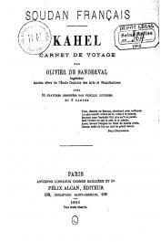 OLIVIER DE SANDERVAL Aimé - Soudan français - Kahel. Carnet de voyage