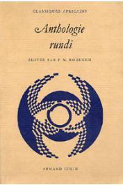 RODEGEM François-Marie, (éditeur) - Anthologie rundi
