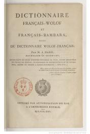 DARD Jean - Dictionnaire Français-Wolof et Français-Bambara suivi du dictionnaire Wolof-Français
