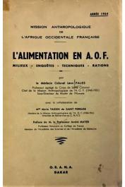 Mission anthropologique de l'A.O.F., PALES Léon, TASSIN de SAINT PEREUSE Marie (avec la collaboration de) - L'alimentation en A. O. F. Milieux - Enquêtes - Techniques - Rations