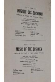 ROUGET Gilbert, GRIMAUD Yvette -  Notes sur la musique des Bochiman comparée à celle des pygmées Babinga / Music of the Bushmen