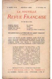 La Nouvelle Revue Française - 89 - 1er février 1921, PAULHAN Jean -  Aytré qui perd l'habitude