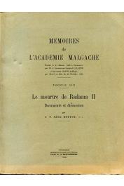 BOUDOU Adrien (Père, s.j.) - Le meurtre de Radama II. Documents et discussions