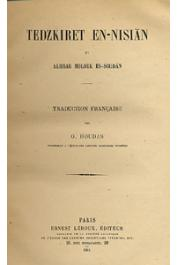 HOUDAS O., (traducteur) - Tedzkiret en Nisian fi Akhbar Molouk es Soudan; suivi de l'histoire de Sokoto