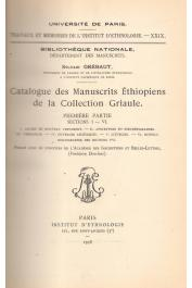 GREBAUT Sylvain, GRIAULE Marcel (Collection) - Catalogue des manuscrits éthiopiens de la collection Griaule. 1ère partie