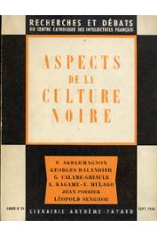 RECHERCHES ET DEBATS 24  - Aspects de la culture noire