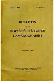 Bulletin de la société d'études camerounaises - n°07