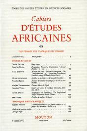 Cahiers d'études africaines - 065 - Des femmes sur l'Afrique des femmes