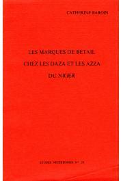Etudes Nigériennes - 29, BAROIN Catherine - Les marques de bétail chez les Daza et les Azza du Niger