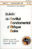 Bulletin de l'IFAN - Série B - Tome 45 - n°3/4 - Juillet/Octobre 1983