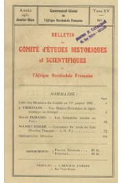 Bulletin du comité d'études historiques et scientifiques de l'AOF - Tome 15 - n°1 - Janvier-Mars 1932 (BCEHSAOF)