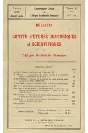 Bulletin du comité d'études historiques et scientifiques de l'AOF - Tome 11 - n°1-2 - Janvier-Juin 1928