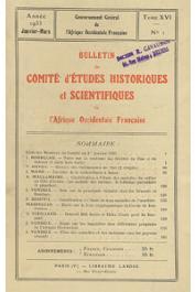 Bulletin du comité d'études historiques et scientifiques de l'AOF - Tome 16 - n°1 - Janvier-Mars 1933 (BCEHSAOF)