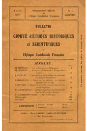 Bulletin du comité d'études historiques et scientifiques de l'AOF - Tome 03 - n°1 - Janvier-Mars 1920