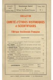 Bulletin du comité d'études historiques et scientifiques de l'AOF - Tome 08 - n°1 - Janvier-Mars 1925