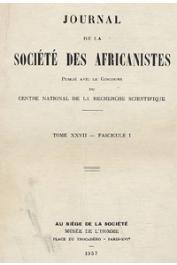 Journal de la Société des Africanistes - Tome 27 - fasc. 1 - 1957