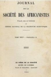 Journal de la Société des Africanistes - Tome 24 - fasc. 2 - 1954