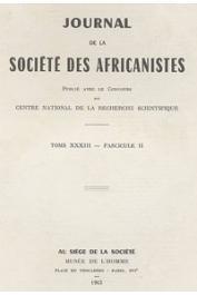 Journal de la Société des Africanistes - Tome 33