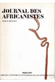 Journal des Africanistes - Tome 48 - fasc. 2 - 1978