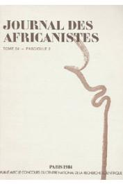 Journal des Africanistes - Tome 54 - fasc. 2 - 1984