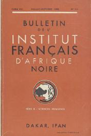 Bulletin de l'IFAN - Série B - Tome 21 - n° 3-4 - Juillet-Octobre 1959