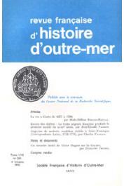 Revue française d'histoire d'Outre-Mer (RFHOM) - n° 209