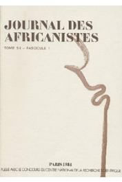 Journal des Africanistes - Tome 54 - fasc. 1 - 1984