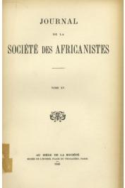 Journal de la Société des Africanistes - Tome 15 - 1945