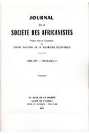 Journal de la société des Africanistes - Tome 45 - fasc. 1-2 -1975