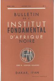 Bulletin de l'IFAN - Série B - Tome 32 - n°1 - Janvier 1970