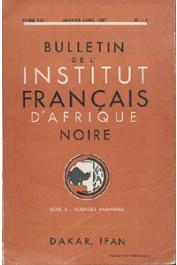 Bulletin de l'IFAN - Série B - Tome 19 - n°1-2 - Janvier-Avril 1957