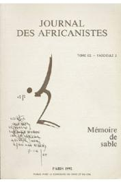 Journal des Africanistes - Tome 62 - fasc. 2 - 1992