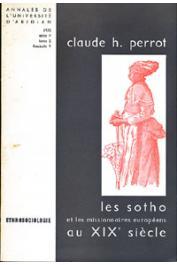 Annales de l'Université d'Abidjan Série F, Tome 2, fasc. 1 - Les Sotho et les missionnaires européens au XIXe siècle