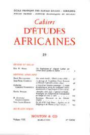Cahiers d'études africaines - 029
